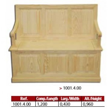 Banco arca 3 almofadas direito com 120cm.