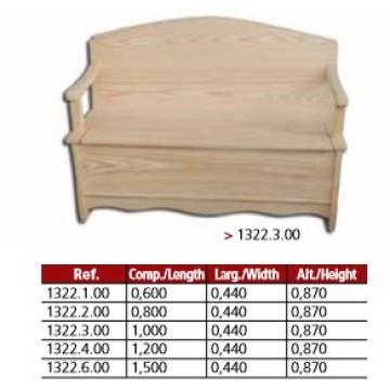 Banco arca liso com braços em pinho maciço