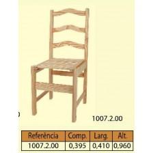 Cadeira travessa natural com assento de rips alta