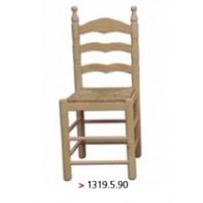 Cadeira torneada alta modelo espanhol com assento de ráfia.