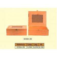 Caixa lisa com vidro n=4 em pinho