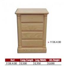 Camiseiro 4 gavetas com 2 colunas torneadas em madeira maciça.