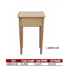 Mesa 4 patas 1 gaveta com friso em madeira maciça.