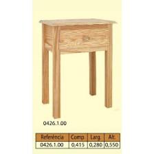 Mesa de cabeceira 4 patas lisas 1 gaveta em pinho