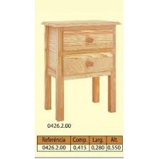 Mesa de cabeceira 4 patas lisas 2 gavetas em pinho