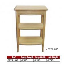 Mesa rectangular com 1 gaveta 2 prateleiras em madeira maciça.