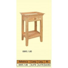 Mesa de cabeceira 4 patas direitas 1 gaveta 1 prateleira em pinho mh