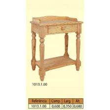 Mesa baixa 4 patas torneadas 1 gaveta 1 prateleira em pinho