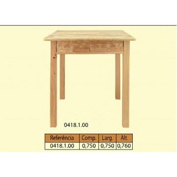 Mesa quadrada em pinho maciço com 4 gavetas