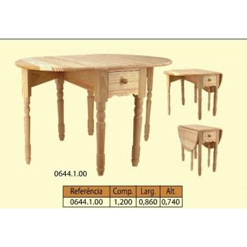 Mesa articulada con patas tornéadas 2 gavetas toda maciça