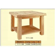 Mesa de centro quadrada com prateleira em pinho