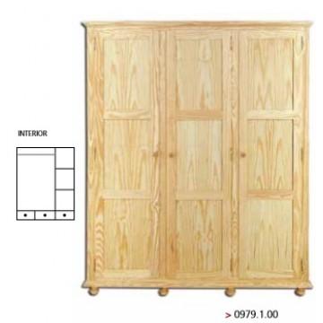Roupeiro 3 portas - Roupeiros - Casa do Pinho - Loja Online - Móveis - Pinho de Alta Qualidade