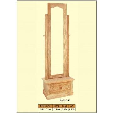 Armação de espelho com gaveta em pinho