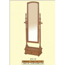 Espelho de pé alto torneado com 1 gaveta em madera de pinho